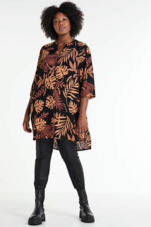 tuniek met bladprint zwart/oranje/donkerrood