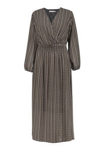 Geisha semi-transparante jurk met all over print zwart/zand, Zwart/zand
