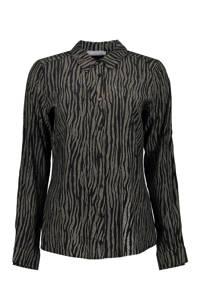 Geisha blouse met all over print zwart/goud, Zwart/goud