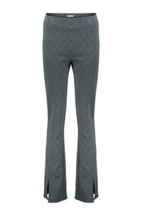 Geisha geruite high waist flared broek groen/zwart/wit, Groen/zwart/wit