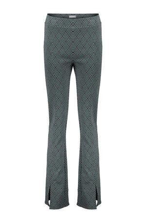 geruite high waist flared broek groen/zwart/wit