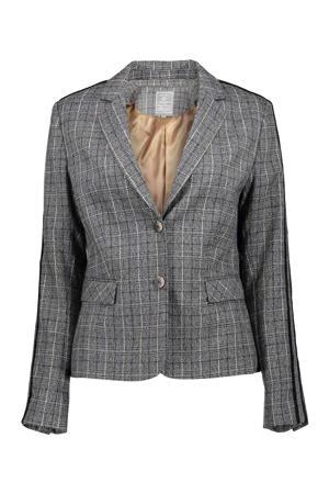 geruite blazer met contrastbies grijs/zwart
