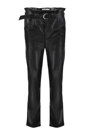imitatieleren high waist slim fit broek zwart