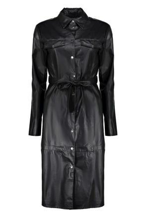coated jurk met ceintuur zwart