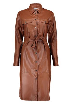coated jurk met ceintuur bruin