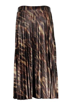 plissé rok met all over print bruin/zwart
