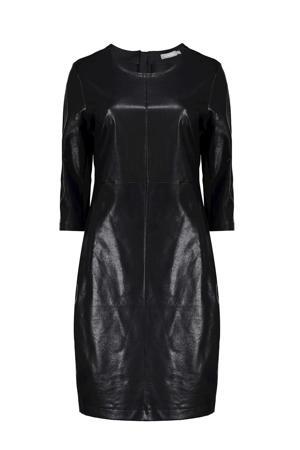 imitatieleren jurk zwart
