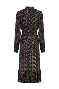 Geisha maxi jurk met stippen en ruches zwart/okergeel/wit, Zwart/okergeel/wit