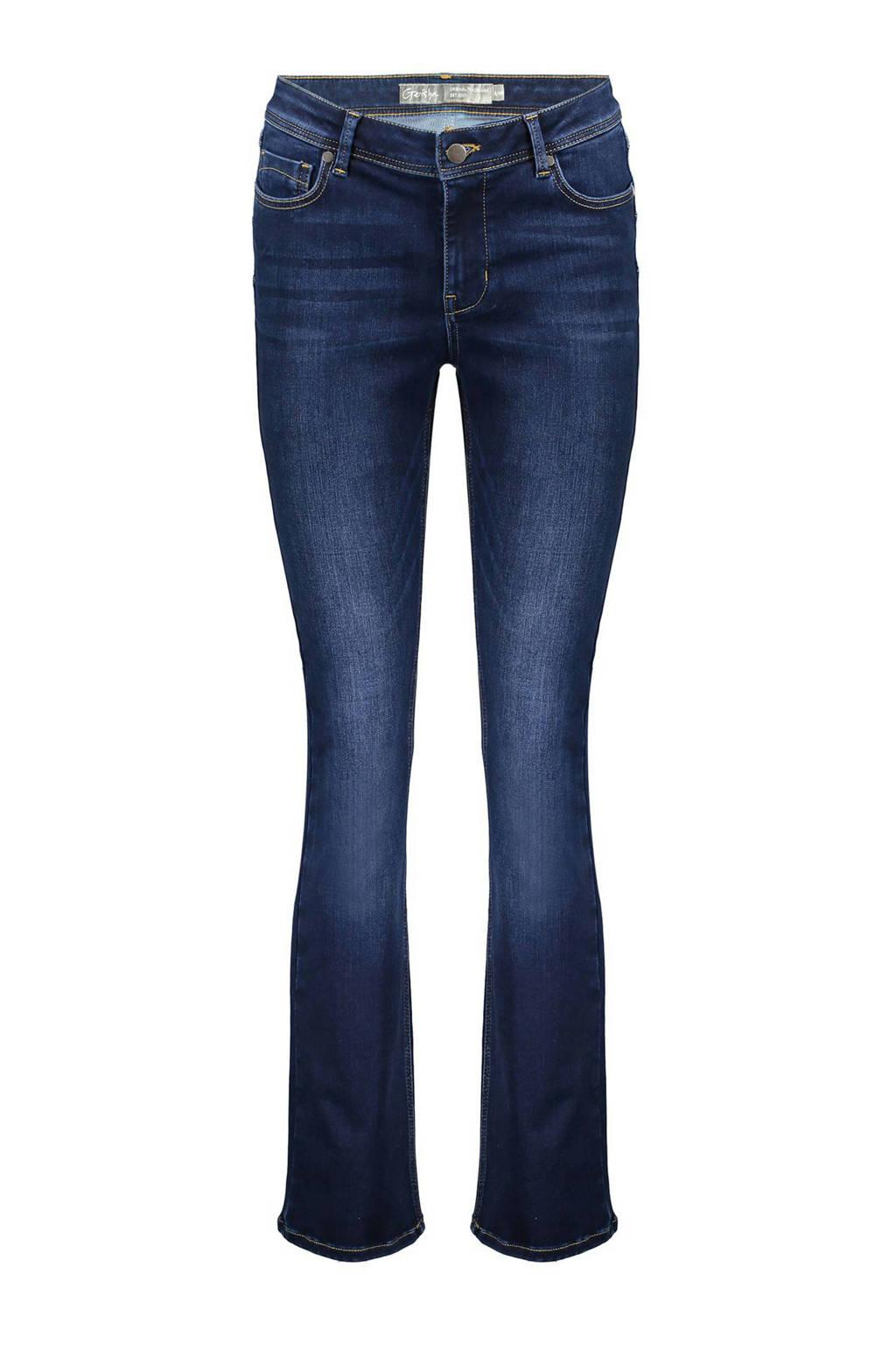 Geisha flared jeans donkerblauw, Donkerblauw