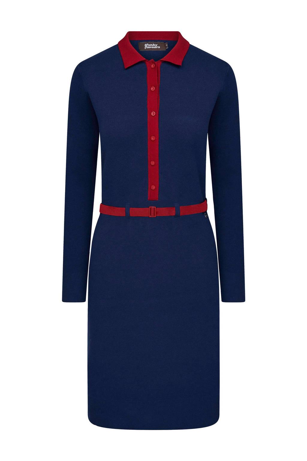 4funkyflavours fine knit jurk blauw, Blue Nights