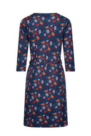 gebreide jurk met all over bloemenprint blauw
