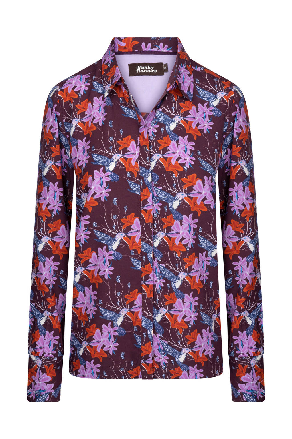 4funkyflavours blouse Praise met all over print donkerpaars/lila/rood, Donkerpaars/lila/rood