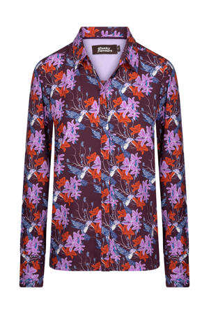blouse Praise met all over print donkerpaars/lila/rood