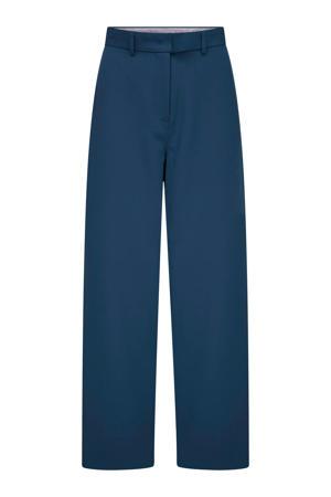 high waist broek met rechte pijp blauw