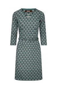 4funkyflavours A-lijn jurk Yes/No/Maybe met all over print en ceintuur groen/donkerblauw/roze, Groen/donkerblauw/roze