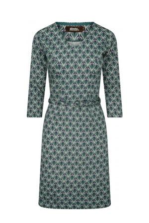 A-lijn jurk Yes/No/Maybe met all over print en ceintuur groen/donkerblauw/roze