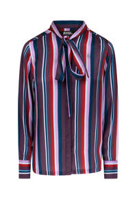 4funkyflavours gestreepte blouse No Going Back donkerpaars/lila/rood, Donkerpaars/lila/rood