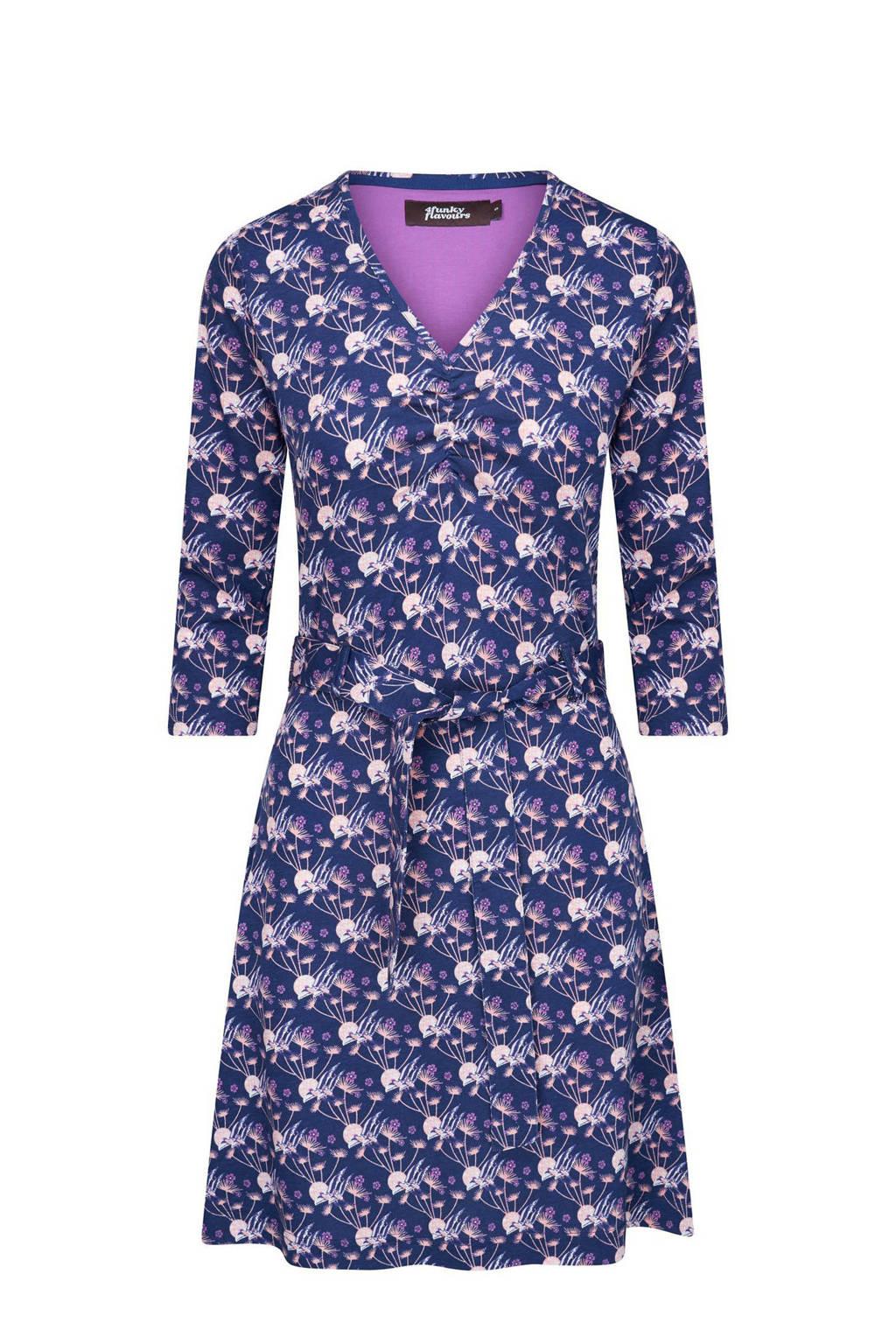 4funkyflavours A-lijn jurk My Joy met all over print en ruches donkerblauw/paars/ecru, Donkerblauw/paars/ecru