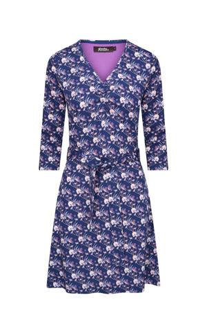 A-lijn jurk My Joy met all over print en ruches donkerblauw/paars/ecru