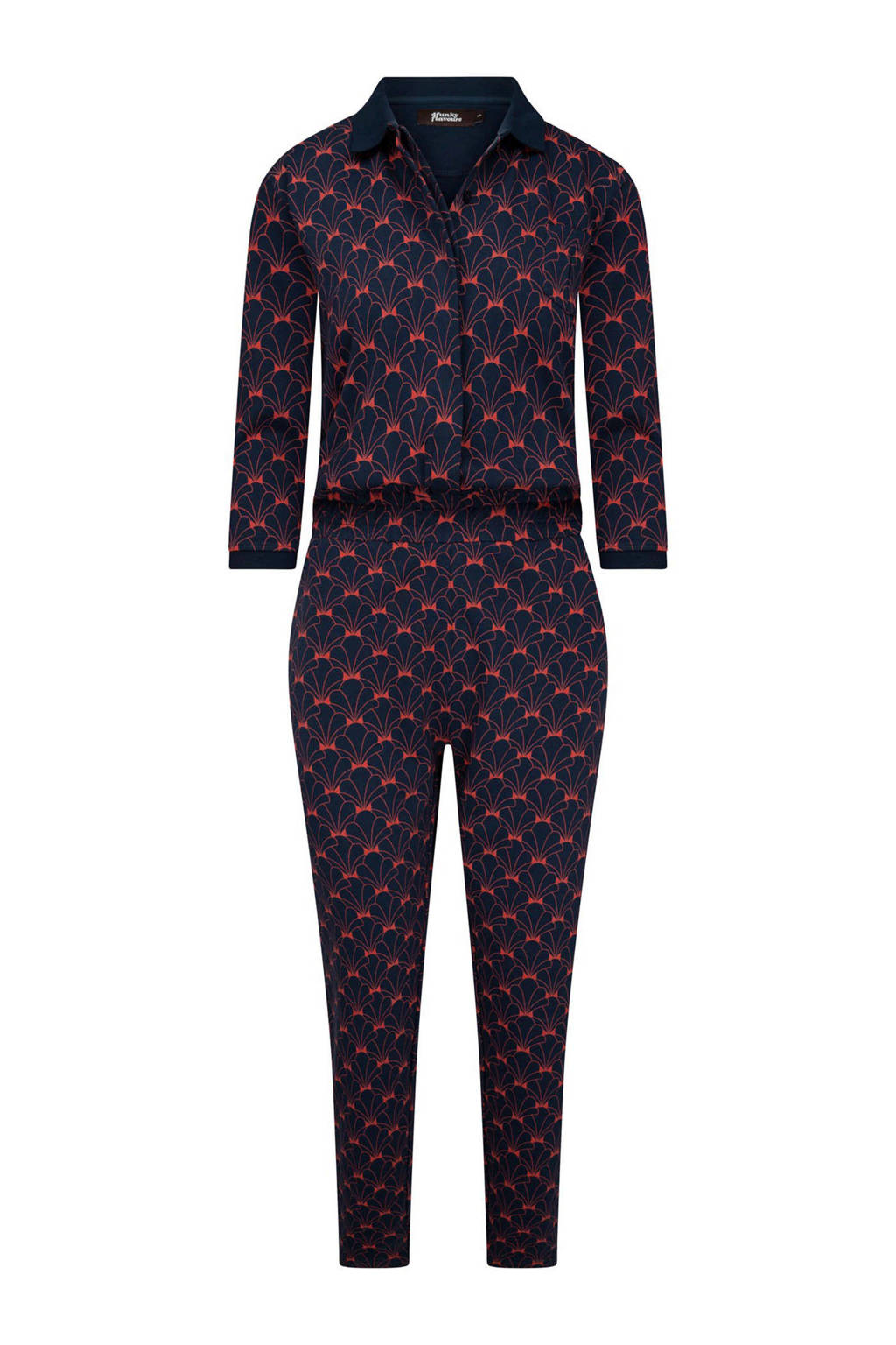 4funkyflavours jumpsuit Tonight's The Night met all over print donkerblauw/rood, Donkerblauw/rood