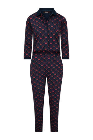 jumpsuit Tonight's The Night met all over print donkerblauw/rood