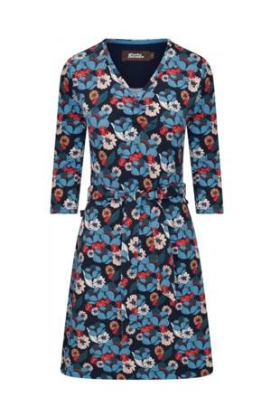 jurk met all over bloemenprint blauw