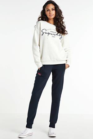 regular fit sweater met logo ecru