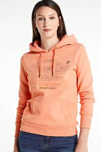 Superdry hoodie met logo oranje, Oranje