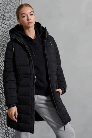 gewatteerde winterjas Boston zwart