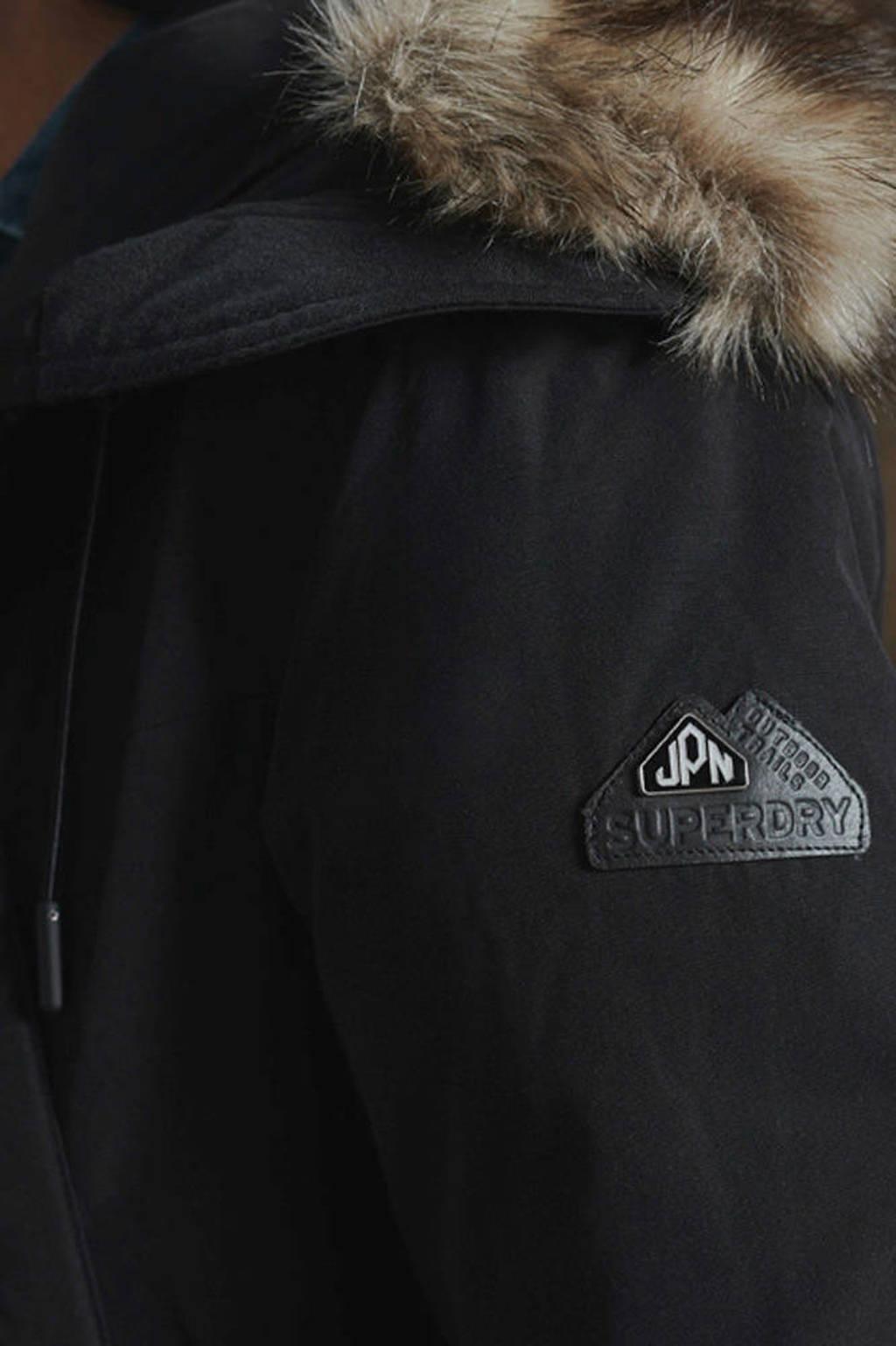 Superdry donzen parka jas met bontkraag zwart, Black