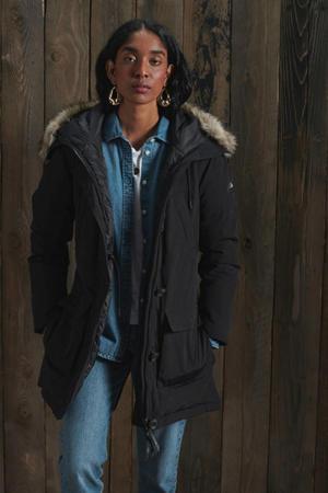 donzen parka jas met bontkraag zwart
