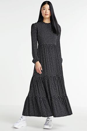 maxi jurk met stippen en volant zwart/wit