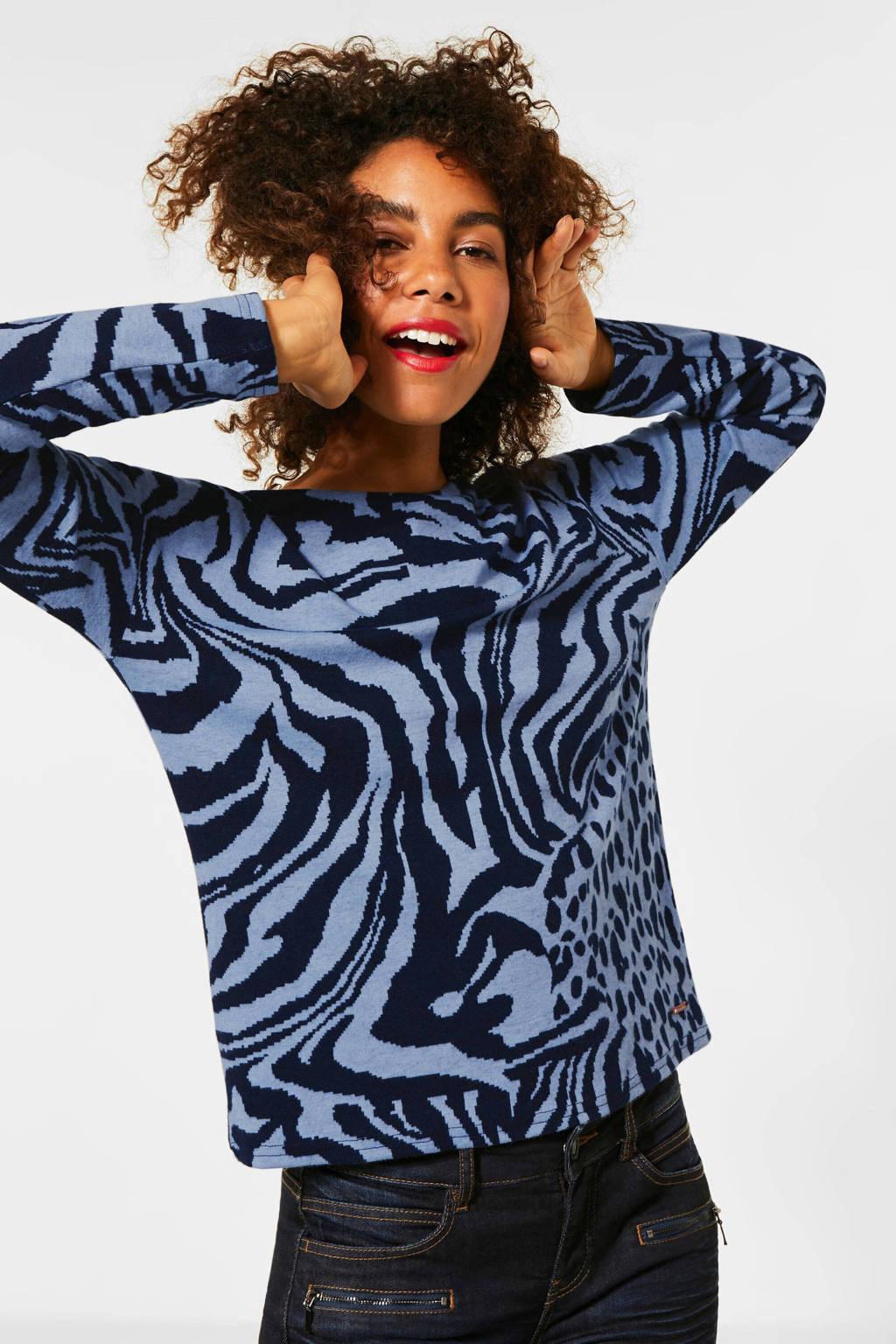 Street One trui met zebraprint lichtblauw/zwart, Lichtblauw/zwart