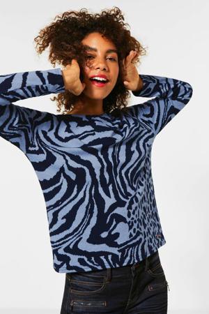 trui met zebraprint lichtblauw/zwart