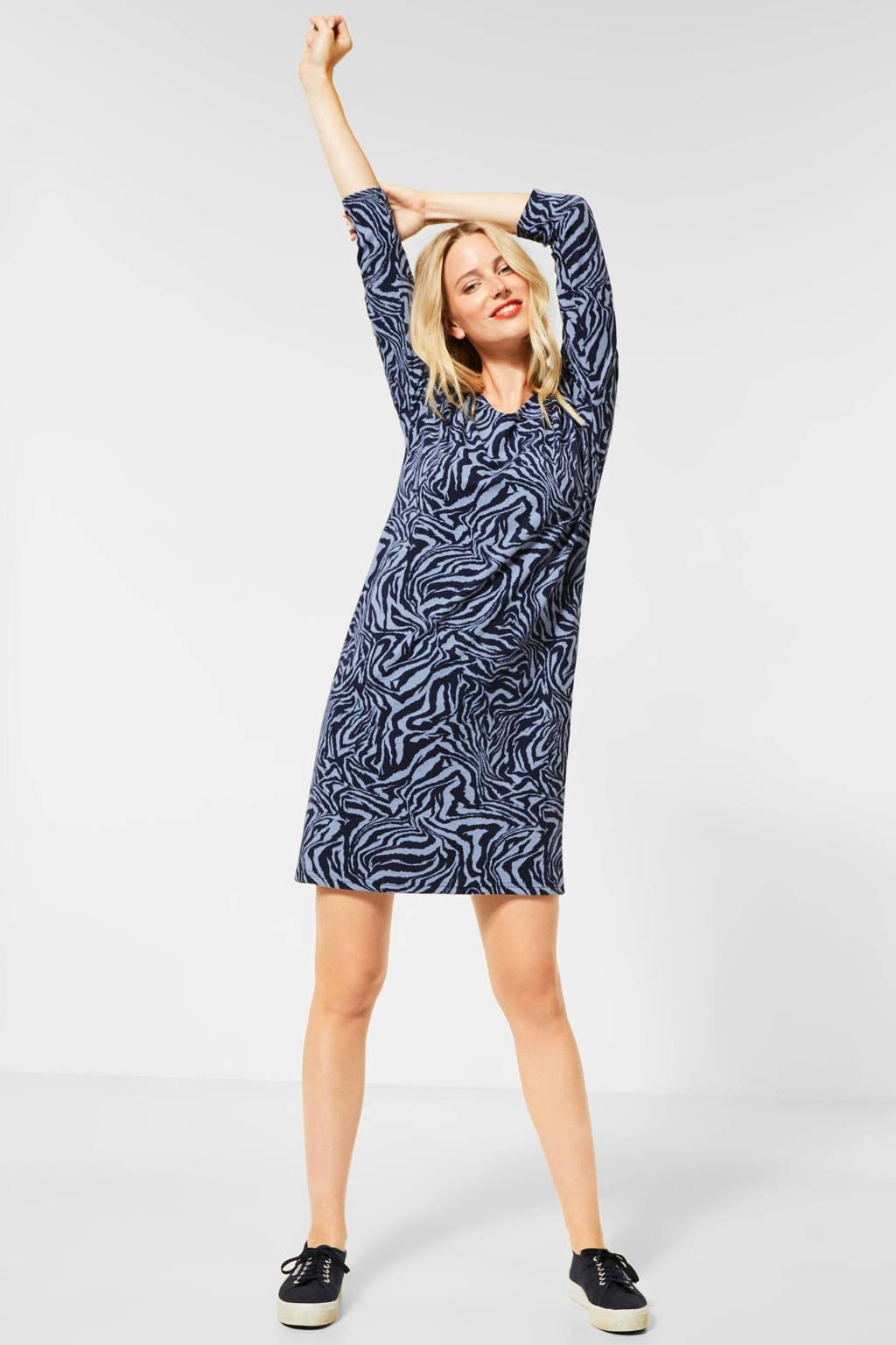 Street One gebreide jurk met zebraprint lichtblauw/donkerblauw, Lichtblauw/donkerblauw