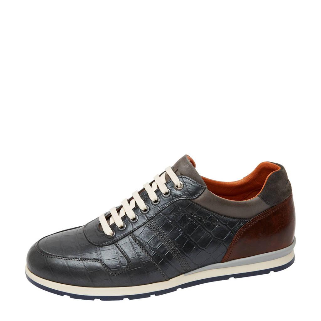Van Lier Davinci  leren sneakers crocoprint antraciet, Antraciet/grijs