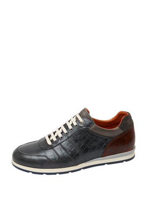 Davinci  leren sneakers crocoprint antraciet