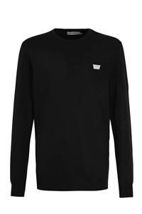 Antony Morato fijngebreide trui met logo zwart, Zwart