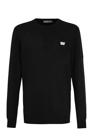 fijngebreide trui met logo zwart