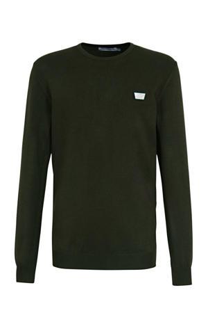 fijngebreide trui met logo army groen