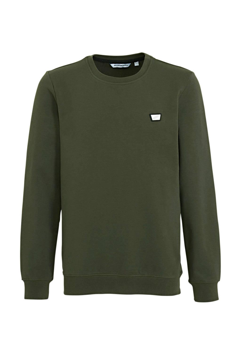 Antony Morato sweater met logo army groen, Army groen
