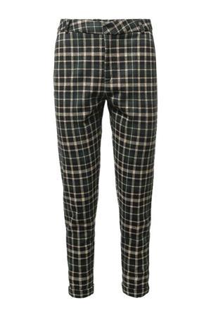 geruite high waist slim fit broek groen/beige