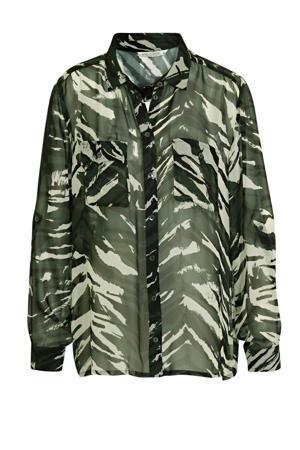 blouse met bladprint groen/ecru