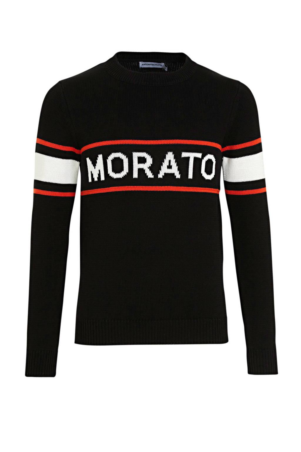 Antony Morato gebreide trui met logo zwart/rood/wit, Zwart/rood/wit