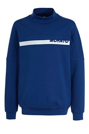 sweater met printopdruk kobaltblauw