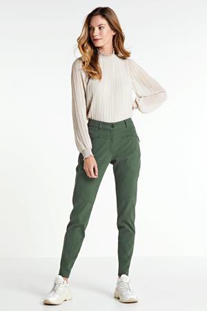 high waist slim fit broek donkergroen