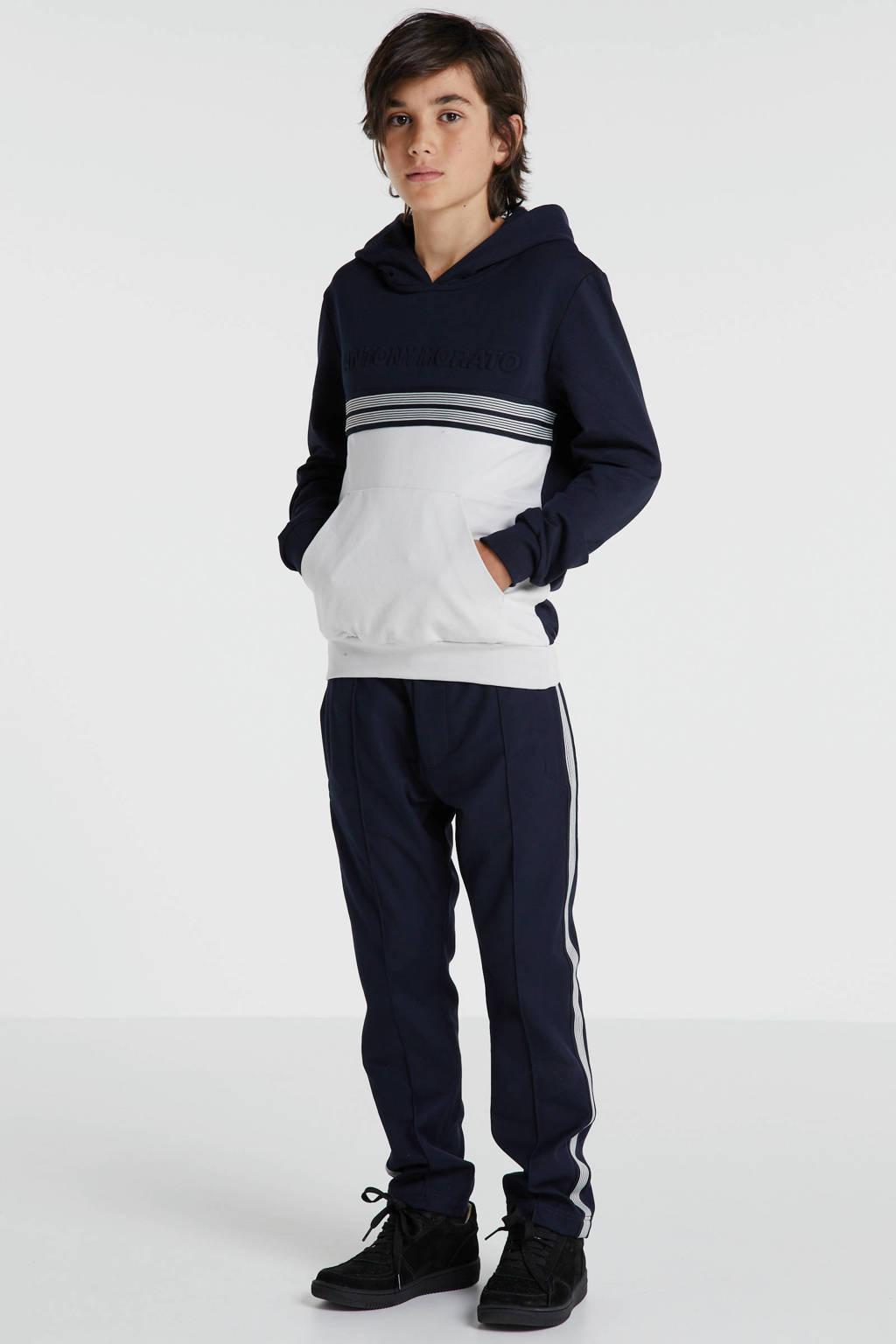Antony Morato loose fit broek met zijstreep donkerblauw, Donkerblauw