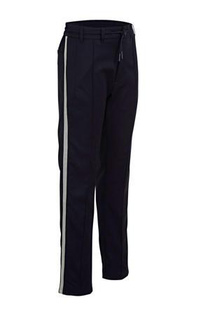 loose fit broek met zijstreep donkerblauw
