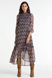 VERO MODA semi-transparante maxi jurk Bianca met all over print en volant donkerblauw/rood, Donkerblauw/rood