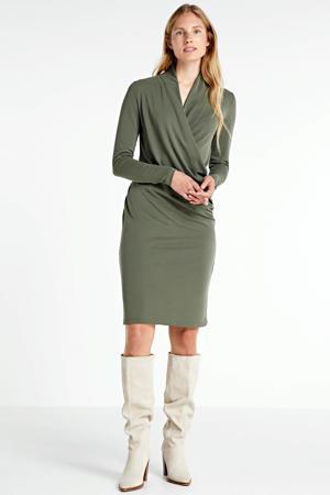 jurk Catja met plooien groen